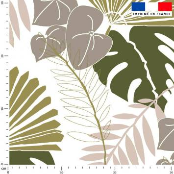 Palme exotique verte - Fond écru - Création Marie-Eva