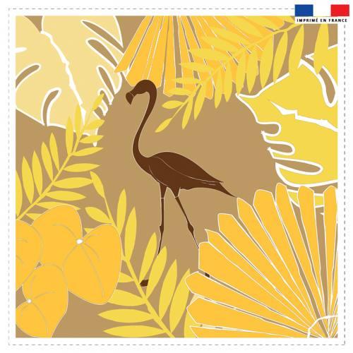 Coupon 45x45 cm beige doré motif flamingo exotique - Création Marie-Eva