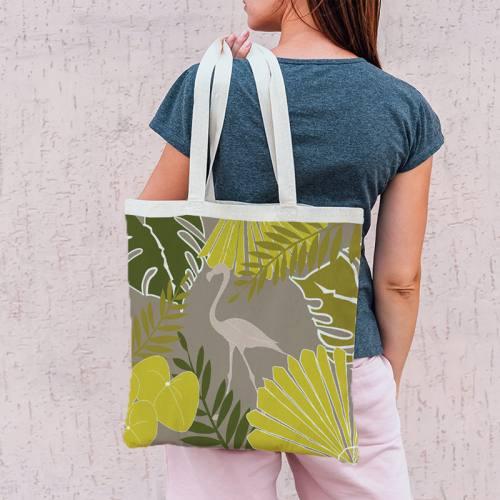 Coupon 45x45 cm grège motif flamingo exotique - Création Marie-Eva