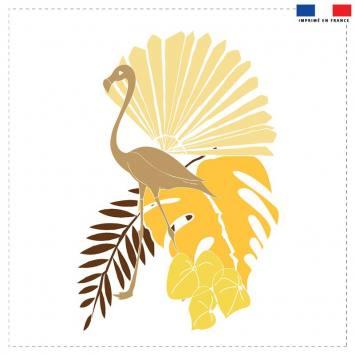 Coupon 45x45 cm sable motif flamingo et palme - Création Marie-Eva