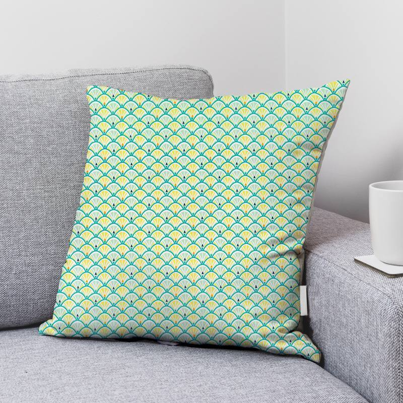 Coton vert émeraude motif écaille jacinthe Oeko-tex