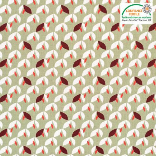 Coton vert sauge motif feuilles vaya bordeaux Oeko-tex