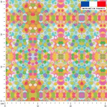 Petits ronds multicolores - Fond écru - Création Lita Blanc