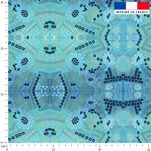 Fleur blanche et coeur ocre - Fond bleu - Création Lita Blanc