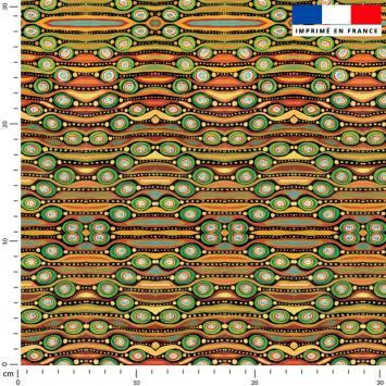 Formes rouges jaunes et vertes ethniques - Fond noir - Création Lita Blanc