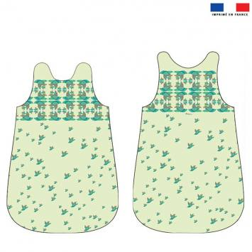 Coupon velours d'habillement pour gigoteuse motif papagayos - Création Lita Blanc