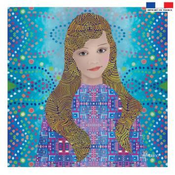 Coupon 45x45 cm bleu motif diva - Création Lita Blanc
