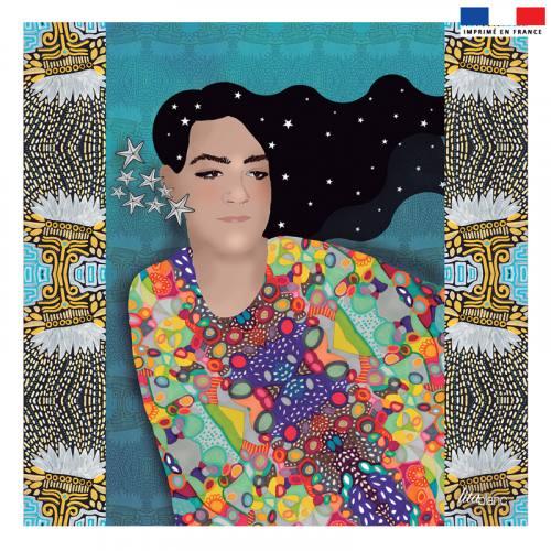 Coupon 45x45 cm bleu motif diva et étoiles - Création Lita Blanc