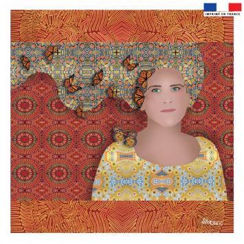 Coupon 45x45 cm rouge motif diva et papillons jaunes - Création Lita Blanc