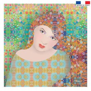 Coupon 45x45 cm multicolore motif diva - Création Lita Blanc