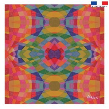Coupon 45x45 cm multicolore motif géométrique - Création Lita Blanc