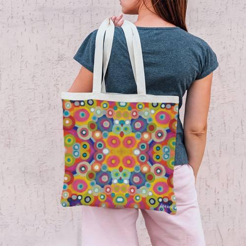 Coupon 45x45 cm multicolore motif rond ethnique en symétrie - Création Lita Blanc