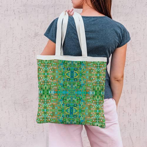 Coupon 45x45 cm vert motif petits carrés - Création Lita Blanc