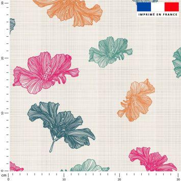 Tissu imperméable beige motif fleur orange et rose