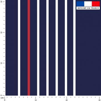 Tissu imperméable bleu motif rayure fine blanche et rouge