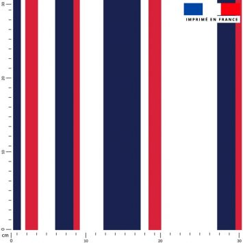 Tissu imperméable écru motif bayadère bleue et rouge