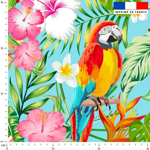 Tissu imperméable bleu motif perroquet exotique