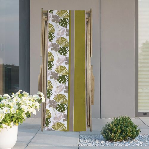 Coupon 45x150 cm tissu imperméable motif palme exotique verte pour transat - Création Marie-Eva