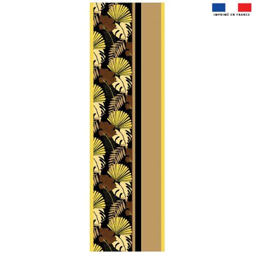 Coupon 45x150 cm tissu imperméable motif palme exotique noire pour transat - Création Marie-Eva