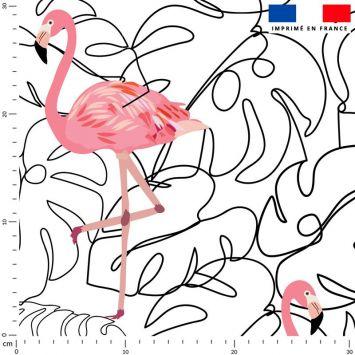 Line art et flamant rose - Fond écru