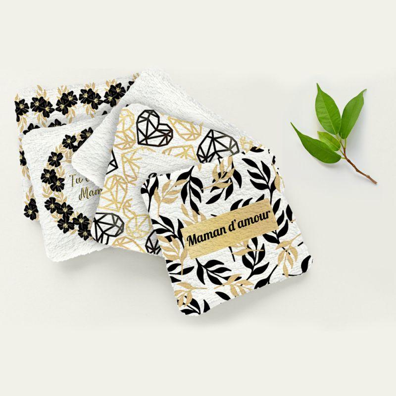 Coupon éponge pour lingettes démaquillantes motif super maman black & gold