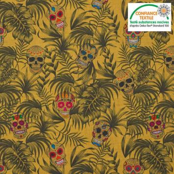 coupon - Coupon 28cm - Coton ocre motif jungle et tête de mort ocre