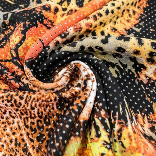 coupon - Coupon 90cm - Tissu scuba perforé noir punch jungle