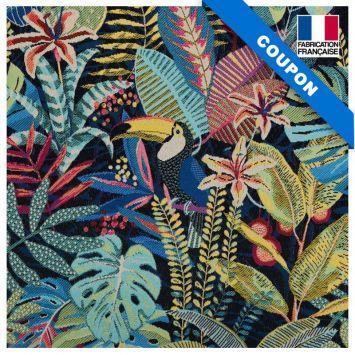 Coupon 50x73 cm - Jacquard bleu motif toucan
