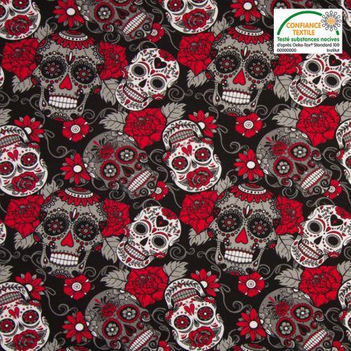 Jersey noir imprimé calavera et fleur rouge Oeko-tex