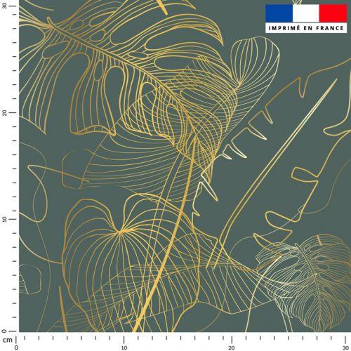Palme jungle dorée - Fond vert