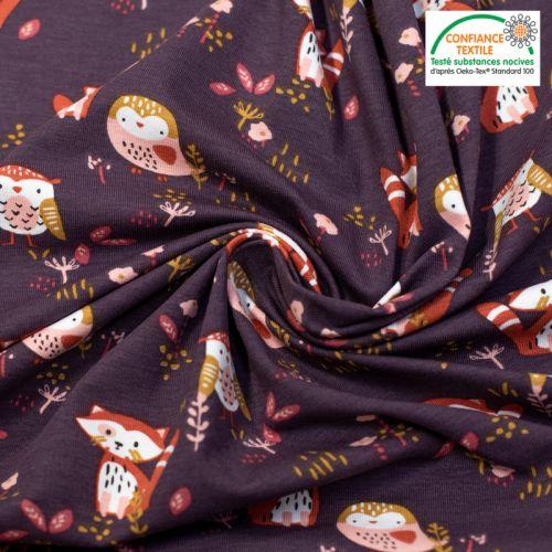Jersey aubergine motif panda roux et oiseau sokidy Oeko-tex