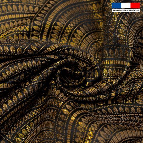 Coupon 50x73 cm - Jacquard noir motif éventail art déco doré