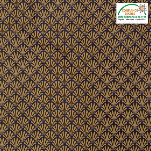 Coton enduit aubergine motif écaille art déco camel khol Oeko-tex