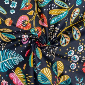 coupon - Coupon 80cm - Coton enduit ardoise motif fleur multicolore