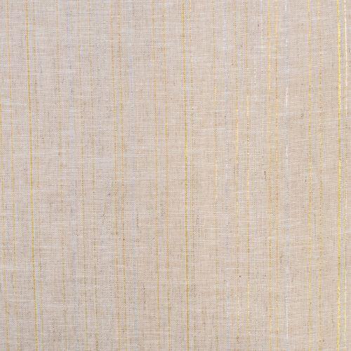 Tissu lin et coton naturel rayé avec fil argent et doré