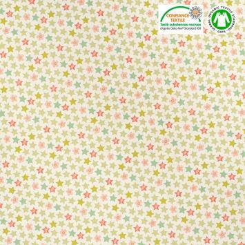 Coton bio naturel motif étoiles jaunes et vertes Oeko-tex