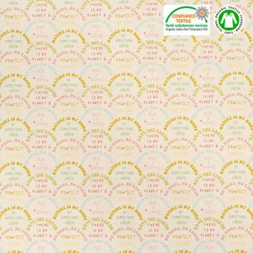 Coton bio naturel motif save the earth Oeko-tex