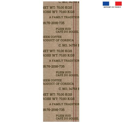Coupon 45x150 cm tissu imperméable motif coffee effet toile de jute pour transat