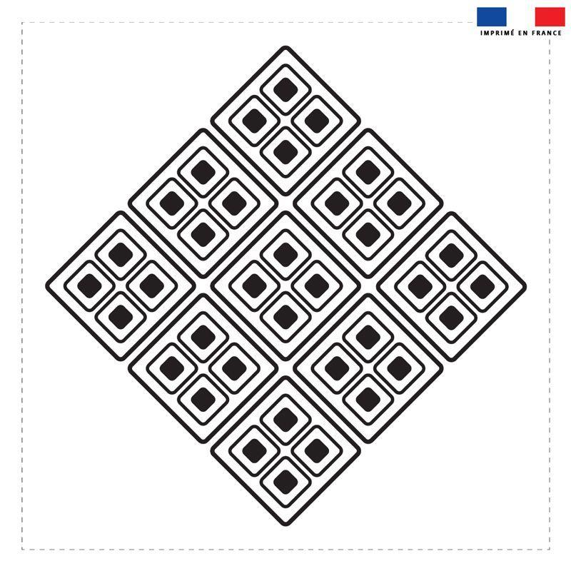 Coupon 45x45 cm motif ethnique noir et blanc