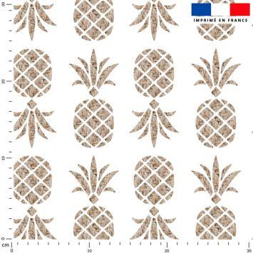 Tissu imperméable écru motif ananas tropical effet rotin