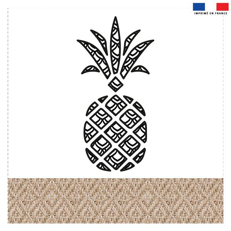 Coupon 45x45 cm motif ananas effet rotin