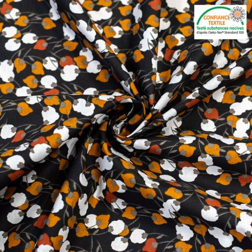 coupon - Coupon 64cm - Coton charbon motif kisnek rouille Oeko-tex
