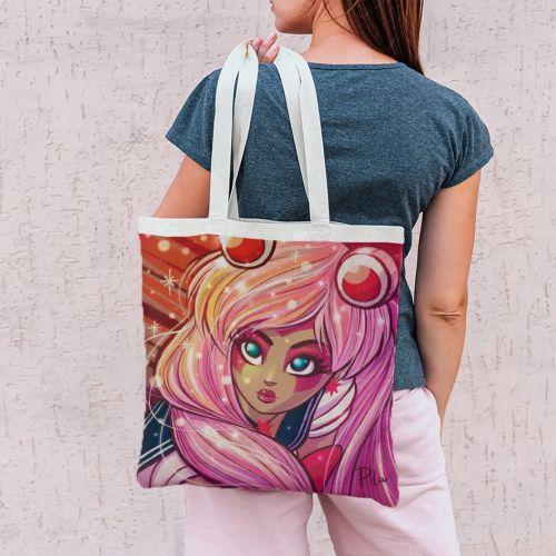 Coupon 45x45 cm rose motif girl dessin manga - Création Pilar Berrio