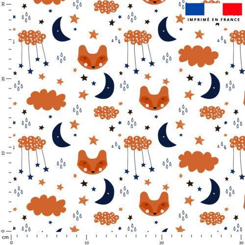 Renard nuage étoile et lune orange et bleu - Fond blanc