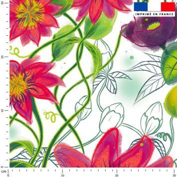 Flowers rouges - Fond écru - Création Pilar Berrio