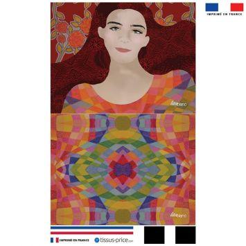 Kit pochette rouge motif portrait de femme - Création Lita Blanc