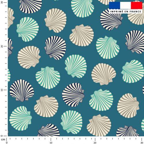 Tissu imperméable bleu motif coquillages