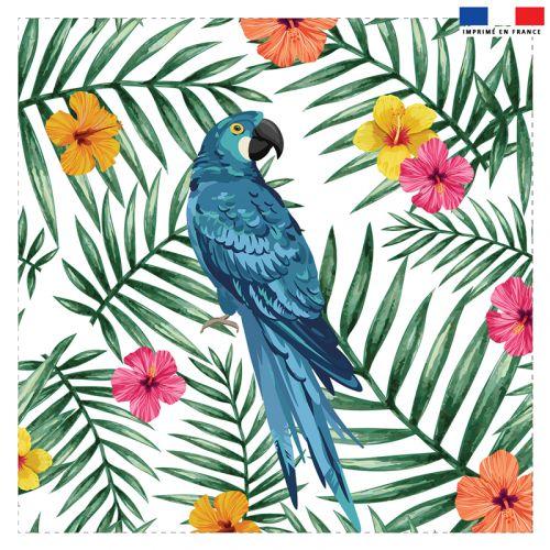 Coupon 45x45 cm motif perroquet bleu et fleur d'hibiscus
