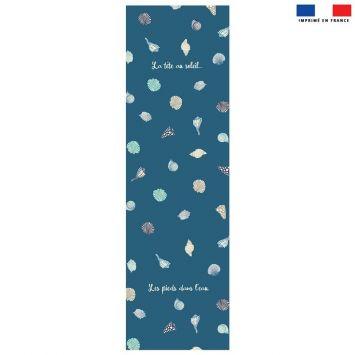 Coupon 45x150 cm tissu imperméable bleu motif coquillages pour transat