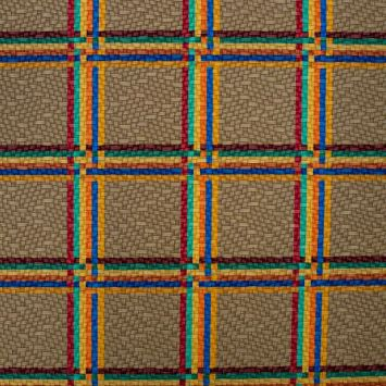 Simili cuir taupe motif tartan multicolore
